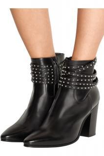 Saint Laurent Black Leather Rock Chic ankle boots