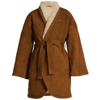 Osman Suede & Shearling Tan Wrap Coat