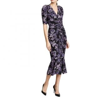 Veronica Beard Black & Purple Floral Printed Dress