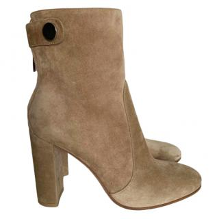 Gianvito Rossi Beige Suede Ankle Boots