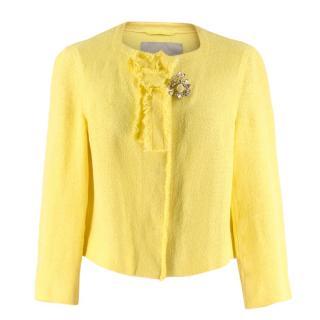 Ermanno Scervino Yellow Brooch Embellished Cropped Linen Jacket