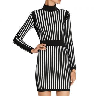 Balmain Striped Stretch-knit Mini Dress