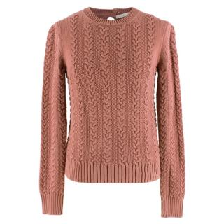 Chloe Marron Rouge Cotton Cable Knit Sweater