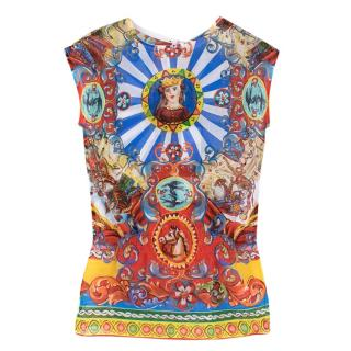 Dolce & Gabbana Sleeveless Caretto Print Top