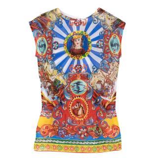 Dolce & Gabbana Sleeveless Caretto Print Top