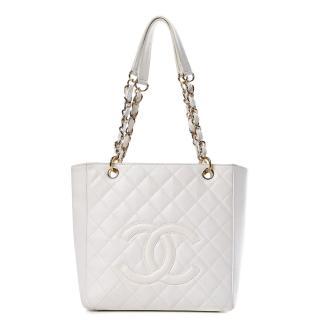 Chanel White Petite Shopper Tote