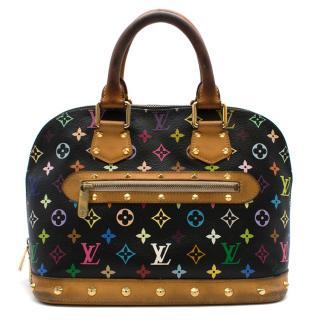 Louis Vuitton Black Multicolor Studded Monogram Alma Tote