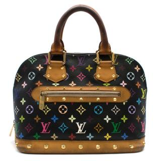 Louis Vuitton Black Multicolor Studded Monogram Alma Tote