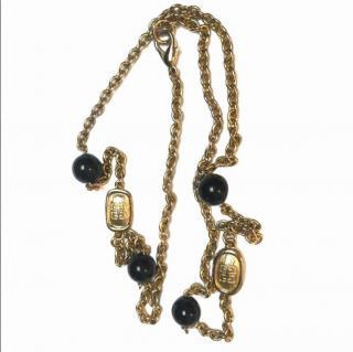 Givenchy Vintage Gold Tone Onyx Necklace
