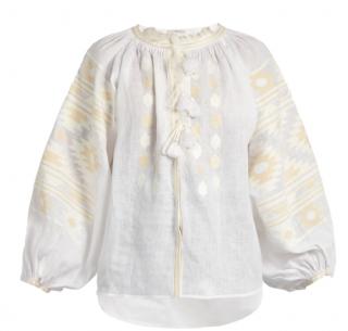 VITA KIN Kilim embroidered linen blouse