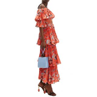 Self-portrait Botanical-print tiered midi dress