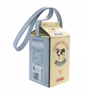 Moschino Vintage Ivory Leather Milk Carton Bag