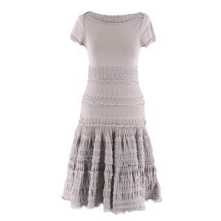 Alaia Grey Fit & Flare Ruffle Trim Dress