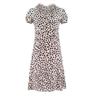 Nina Ricci Floral Polka Dot Print Silk Dress
