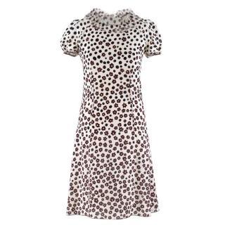 Nina Ricci Floral Polka Dot Print Silk Dress