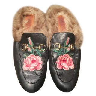 Gucci Floral Embroidered Fur Lined Princetown Loafers