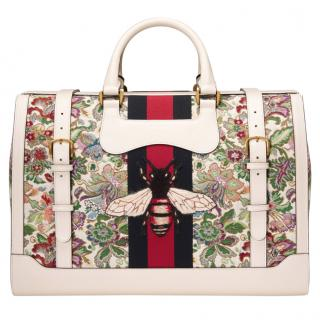 Gucci Floral Tapestry Duffle Bag with Web Stripe