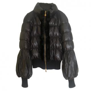 Roberto Cavalli Nylon Fur Trim Puffer Jacket