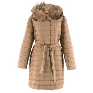 Max Mara Beige Padded Coat with Fur Lined Hood