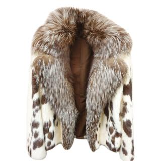 Saga Furs Mink & Fox Fur Short Belted Coat