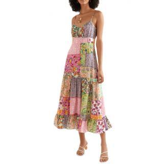 Saloni bella patchwork-print seersucker midi dress