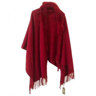 Bespoke Red Wool Cape W/ Rabbit Fur Trim