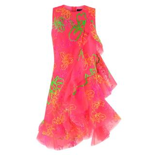 Fyodor Golan neon pink ruffled mini dress