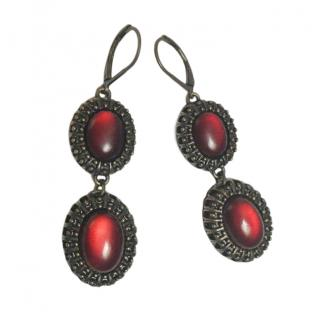Nina Ricci Red Cabochon Crystal Drop Earrings