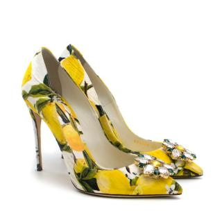 Dolce & Gabbana Crystal Embellished Lemon Pumps