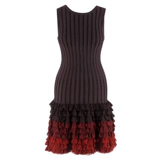 Alaia Brown Stretch Knit Mini Ruffled Mini Dress