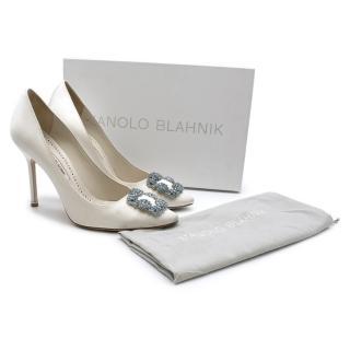 Manolo Blahnik Hangisi Bride White Satin Jewel Buckle Pumps