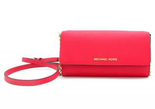 Michael Michael Kors Pink Jet Set Travel Saffiano Leather Chain Wallet