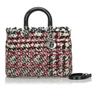 Dior Cannage Tweed Lady Dior Tote Bag