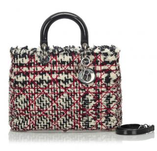 Dior Cannage Tweed Lady Dior Tote Bag