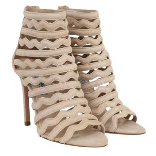 Prada wave suede beige sandals