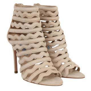 Prada wave suede beige sandals