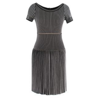 Alaia Black & White Striped Knit Skater Dress