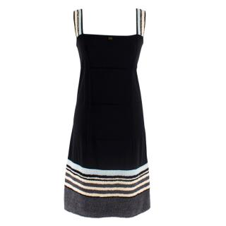 Chanel Identification Black Beach Dress W/ Towel Trim & Straps