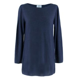 Prada Navy Cashmere & Silk Blend Sweater