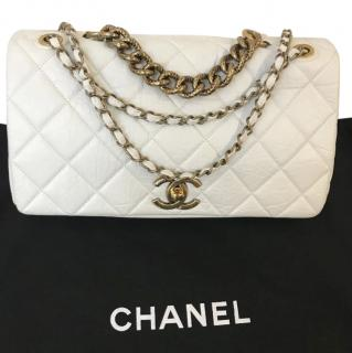 Chanel white leather Pondicherry quilted calfskin flap bag