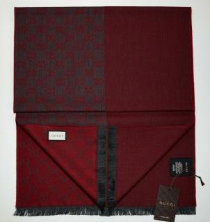 Gucci bordeaux GG wool scarf 180x40 cms