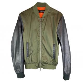 DSqaured2 Leather & Khaki Cotton Bomber Jacket