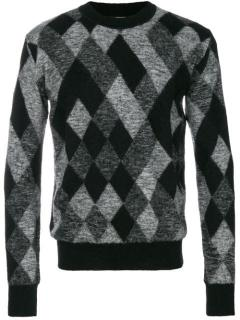 Saint Laurent black and grey argyle sweater