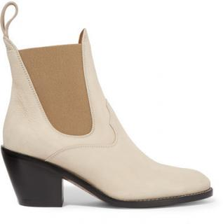 Chloe Suede Beige Ankle Boots