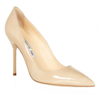 Manolo Blahnik Patent BB Pumps in Nude
