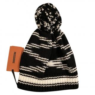 Missoni Black & White Cashmere Knit Bobble Hat