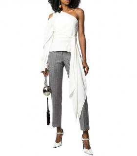 Roland Mouret White One Shoulder Asymmetric Top