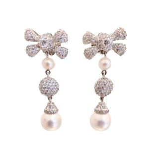 Ambrosia Paris haute couture crystal and pearl earrings