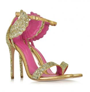 Oscar Tiye Malikah Platinum Glitter High Heel Sandals