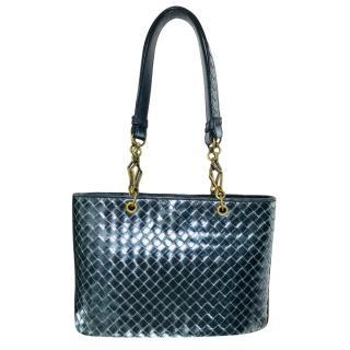 Bottega Veneta Metallic Blue Intrecciato Tote Bag